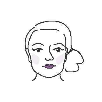 Kulmikkaat kasvot naisella
