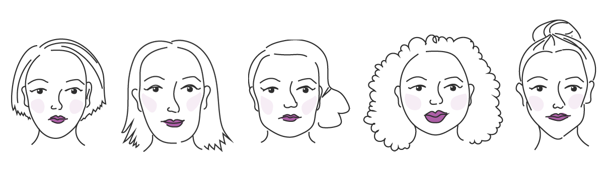 Naisten kasvojen muodot