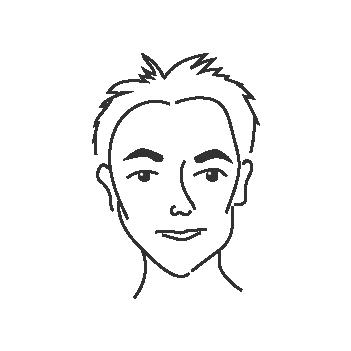 Sydämenmuotoiset kasvot miehellä